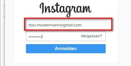 Instagram Login: Button 'weiter' klicken