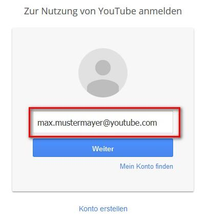YouTube Login: E-Mail Adresse eingeben