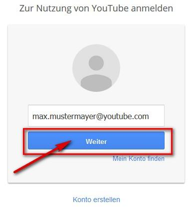 YouTube Login: Button 'weiter' klicken